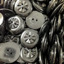 bouton noir étoile plastique ancien vintage mercerie 1930 22mm