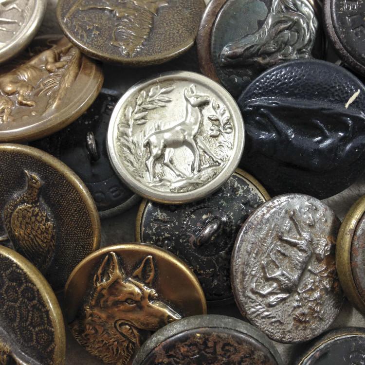métal bouton chasse animaux ancien vintage mercerie 1950 22mm 25mm