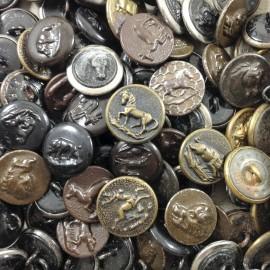 bouton vènerie ancien vintage petit métal chasse mercerie 1950 15mm