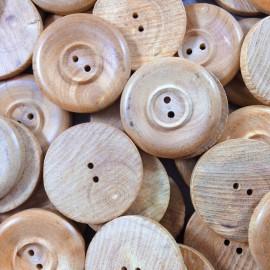 bouton bois ancien rond vintage 27mm mercerie 1960