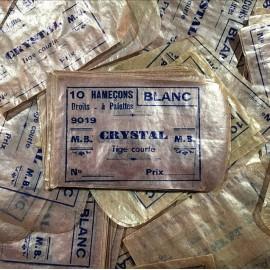 sachet ancien papier hameçons supérieurs pêche vintage magasin 1930 rose crystal