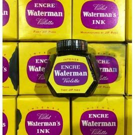 encrier ancien waterman violet violette verre 1960 1970 école