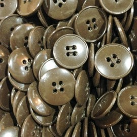 brown button plastic antique vintage haberdashery 1960 20mm