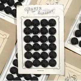 24 fabric 1900 paris elegant antique vintage haberdashery buttons 1900 24mm black
