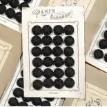 carte 24 boutons anciens en tissu début de siècle 1900 1890 costume haute époque 24mm noir
