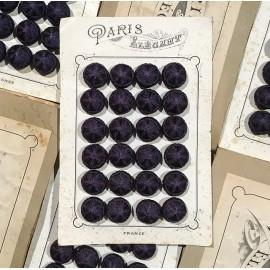carte 24 boutons anciens en tissu début de siècle 1900 1890 costume haute époque 24mm violet