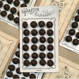 24 fabric 1900 mode fashion antique vintage haberdashery buttons 1900 14mm black round