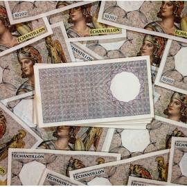 billet athéna athena 10202 factice échantillon ancien 1980 banque de france distributeur automatique dab filigrane zeus