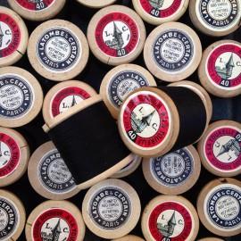 ancienne bobine coton tourelle latombe certain noir vintage filature ancienne mercerie