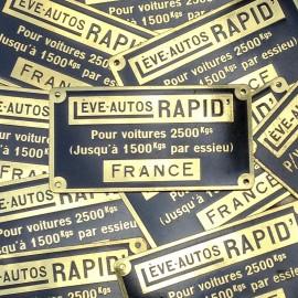 Plaque laiton élévateur rapid ancien vintage métal usine garage 1950