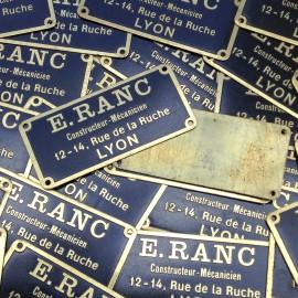 e.ranc plate brass antique vintage metal garage factory 1950