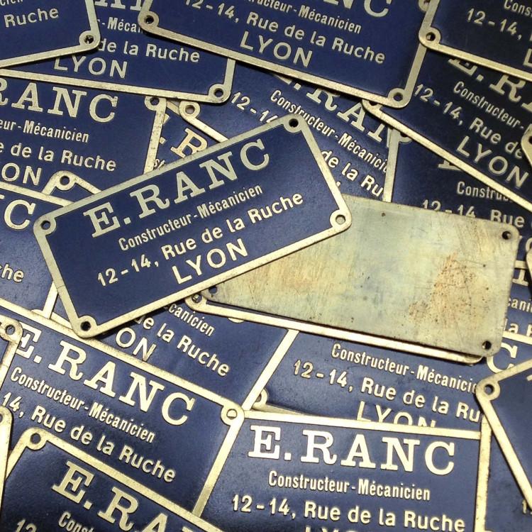e.ranc plaque laiton métal ancien vintage garage usine 1950
