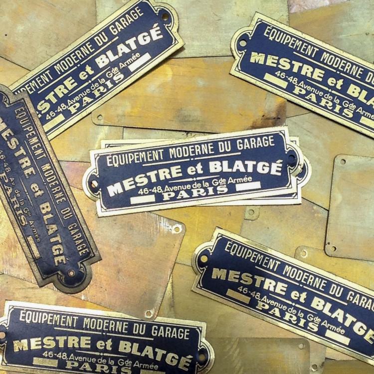 mestre blatgé plaque laiton métal ancien vintage garage usine 1950