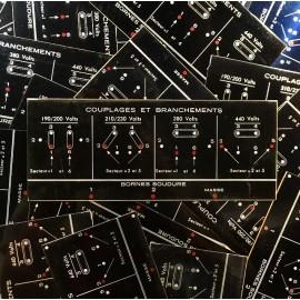 plaque ancienne schéma électrique vintage métal métallique 1980 atelier couplage