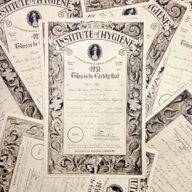 institute hygiène ancien vintage papier certificat londrès frères breger paris 1931 imprimerie