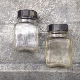 little glass jar vintage 1930 125ml 0.125ml pharmacy ether army antique transparent clear bakelite cap