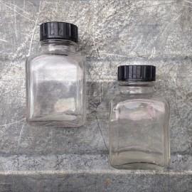 petit bocal flacon verre transparent clair 1930 armée vintage 125ml 0.125l ether pharmacie