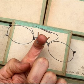 lunette ancienne métal XIX ème 1880 1870 titane paladium vue soleil solaire pince nez fernand lorgnon binocle