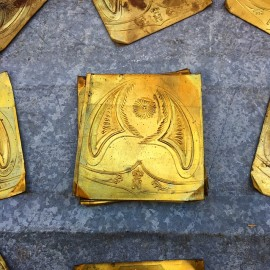 brass plate plaque napoleon metal antique old 1860 19th century helmet small miniature