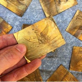 brass plate plaque napoleon metal antique old 1860 19th century helmet small miniature eagle