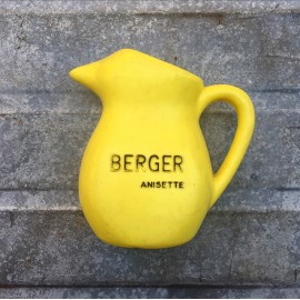 vintage berger anisette pitcher 1970 yellow plastic bar