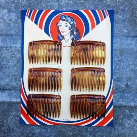 hair barrettes pinup plastic oyonnax antique vintage haberdashery 1950