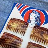 carte 6 barrettes plastique oyonnax femme qualité supérieure cheveux mercerie vintage 1950