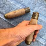 manche poignée en bois atelier baladeuse alène outil vintage ancien ancienne virole laiton