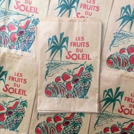 sachet papier ancien vintage fruits du soleil épicerie 1960