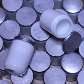 pot à onguent ancien en verre et métal métallique pharmacie 1920 1930