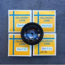 optique agrandisseur objectif lentille fujimoto lens 75mm 3.5 1980 vintage ancien