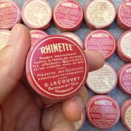 petite boite rhinette ancien vintage poudre rhume pharmacie lecouvey 1930