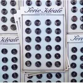 card of vintage antique button plastic haberdashery knitting 1950 1960 17mm dark blue