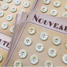 carte bouton ancien mercerie ancienne plastique fleur beige 17mm série idéale vintage