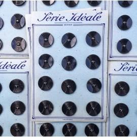 carte bouton ancien mercerie ancienne plastique grand gros noir 27mm série idéale vintage
