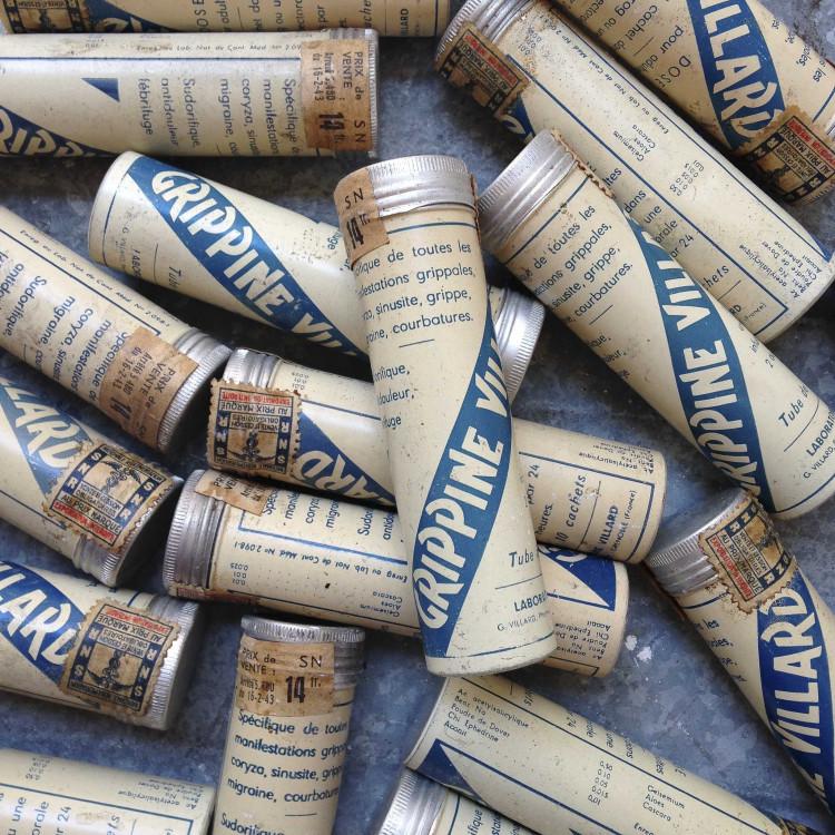 ancien vintage tube grippine villard 1940 pharmacie médicament