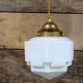 luminaire ancien opaline verre blanc 1930 art deco charleston griffe laiton intérieur décor