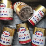boite esso pot ancien vintage métal garage motor oil extra 1950