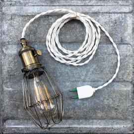 lightning light baladeuse workshop lamp vintage garage work switch on off white twisted wire