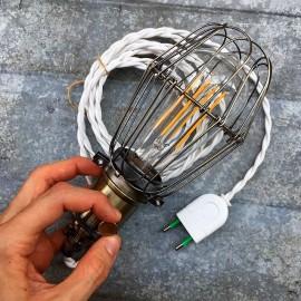 luminaire baladeuse américaine cable blanc 3m interrupteur on off métal cage garage atelier cable blanc