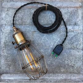 luminaire baladeuse atelier américaine vintage cage métallique métal garage interrupteur cable noir