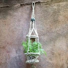 suspension macramé perles bois peintes ancien vintage 1980 usine pot fleurs