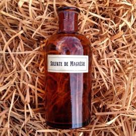petite bouteille orange sulfate de magnésie pharmacie ancienne vintage 1930 1940 flacon