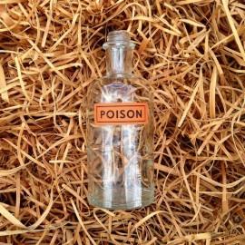 petite bouteille transparente verre poison pharmacie ancienne vintage 1930 1940 flacon