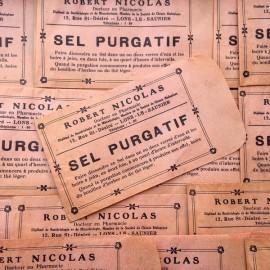 petit sachet rose sel purgatif vintage ancien 1940 1930 pharmacie emballage