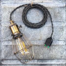 lightning light baladeuse workshop lamp vintage garage work switch on off anthracite twisted wire