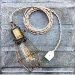 luminaire baladeuse atelier américaine vintage cage métallique métal garage interrupteur cable torsadé chanvre