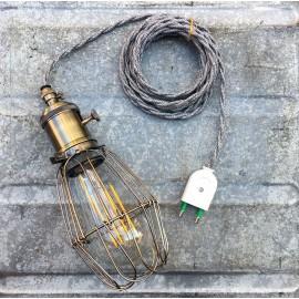 luminaire baladeuse atelier américaine vintage cage métallique métal garage interrupteur cable torsadé gris jute
