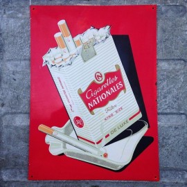plaque cigarettes nationales french tobacco brand vintage antique 1960 1970
