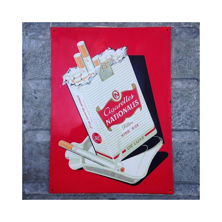 plaque tôle cigarettes nationales vintage ancienne tabac 1950 1960 1970 rouge bistrot